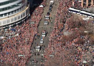 Fans crowd downtown Denver during a parade to celebrate the Denver Broncos winning Super Bowl 50, February 09, 2016. The parade went from Union Station and ended at Civic Center Park. (Photo by RJ Sangosti/The Denver Post)